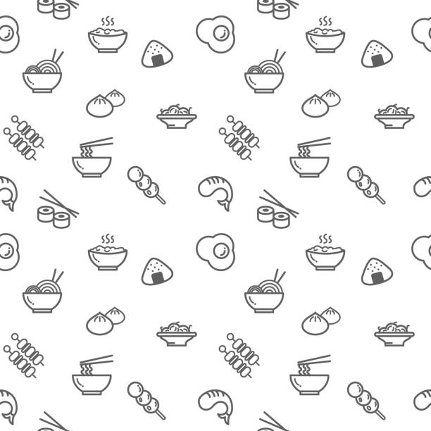 food icons seamless pattern grey vector on white background. - japanese food stock illustrations