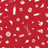Food icons seamless vector pattern