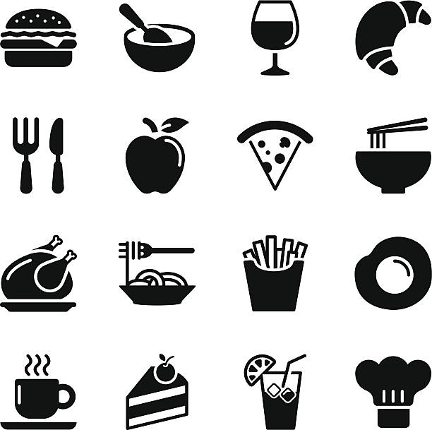 stockillustraties, clipart, cartoons en iconen met food icons - set 1 - friet