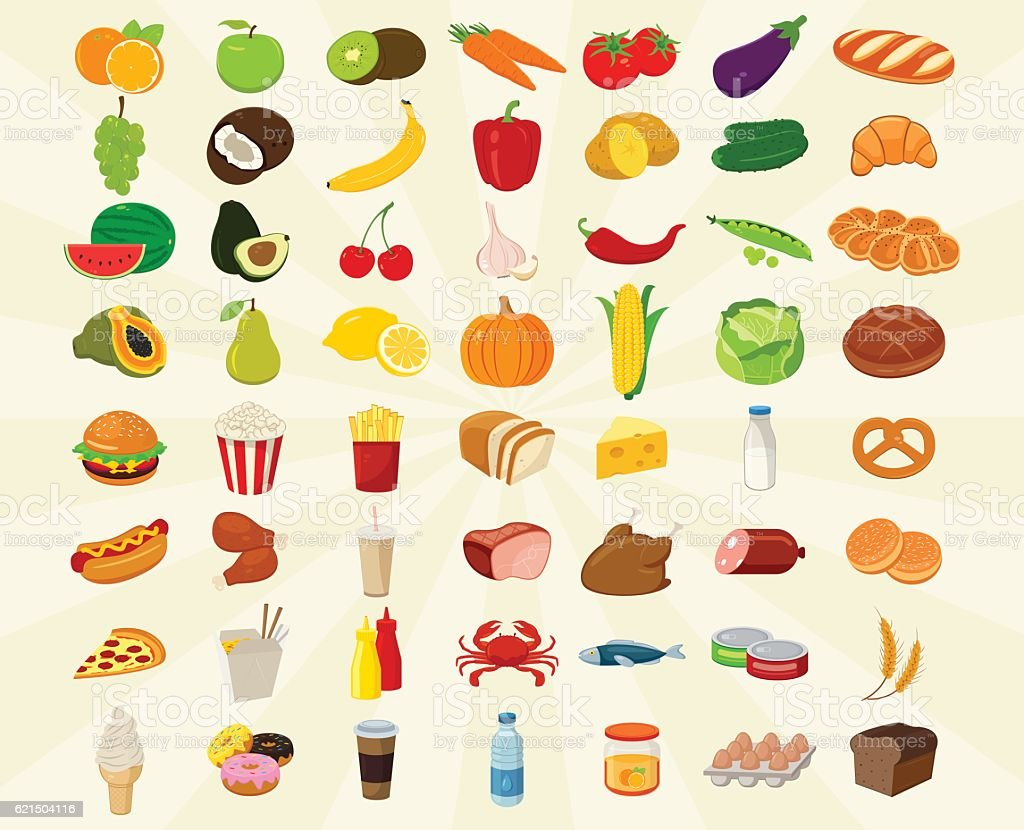 Food icons set. Fruits and Vegetables icons. Fast food icons. food icons set fruits and vegetables icons fast food icons - immagini vettoriali stock e altre immagini di affari royalty-free