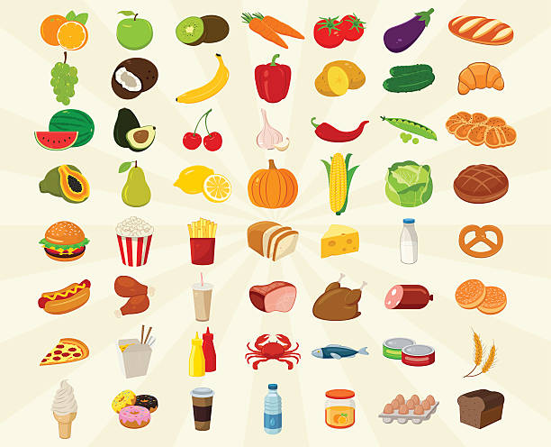 food icons set. fruits and vegetables icons. fast food icons. - chinesisches essen stock-grafiken, -clipart, -cartoons und -symbole