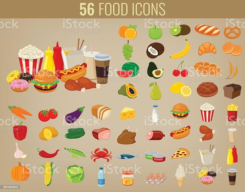 Food icons set. Fruits and Vegetables icons. Fast food icons. food icons set fruits and vegetables icons fast food icons – cliparts vectoriels et plus d'images de affaires libre de droits