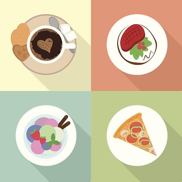 Food icons set vector art illustration