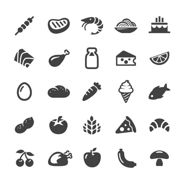 stockillustraties, clipart, cartoons en iconen met voedsel iconen-smart series - egg