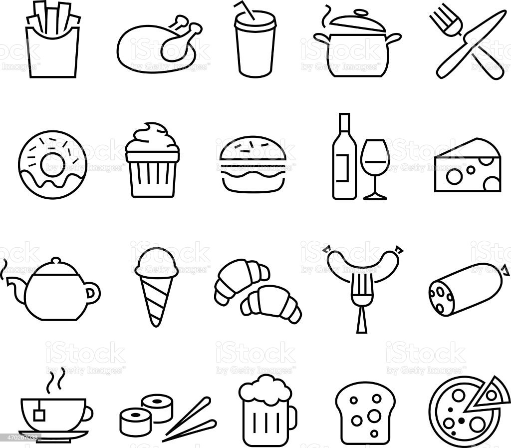 Food Icons Thin Lines vector art illustration