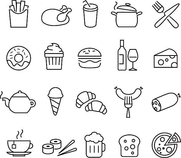 Alimentos iconos de líneas finas - ilustración de arte vectorial