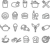 Food Icons Thin Lines