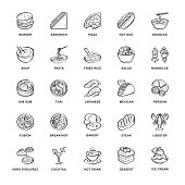 Restaurant, Food icons, line, Sketch ,Vector and Illustration