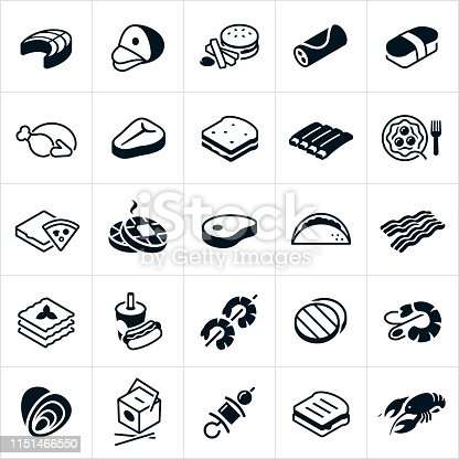 A set of different kinds of foods. The icons include salmon, ham, hamburger and french fries, breakfast burrito, sushi, turkey, steak, sandwich, ribs, spaghetti, pizza, waffles, pork, taco, bacon, lasagna, hot dog and soda, shrimp kabob, hamburger patties, shrimp scampi, oysters, Chinese food, kabob, grilled cheese sandwich and lobster.