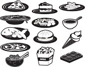 Set of black and white food icons. Includes burger, fries, pizza, cake, chocolate, soup, noodles, fish, popcorn, ice cream, spaghetti etc.
