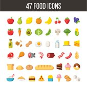 Large set of flat cartoon food icons: meat and dairy, fruits and vegetables, meals and desserts.