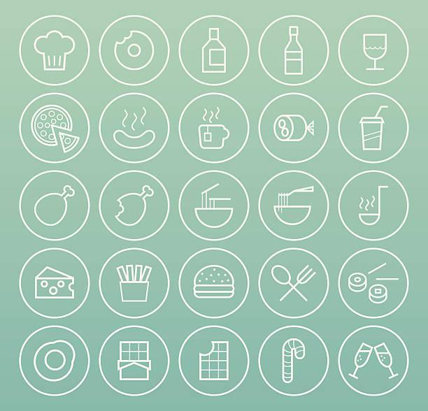 illustrazioni stock, clip art, cartoni animati e icone di tendenza di cibo icone. - mortadella