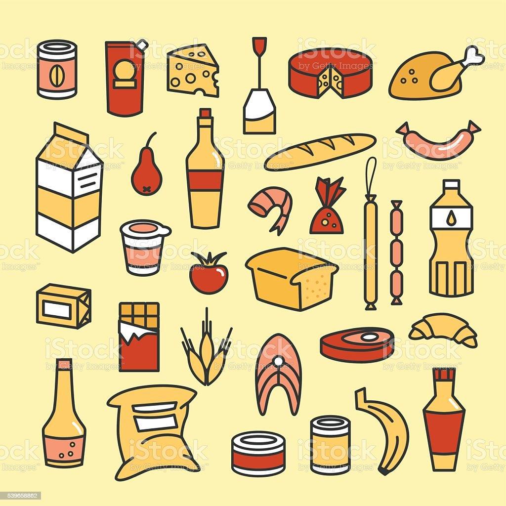 Food icons vector art illustration