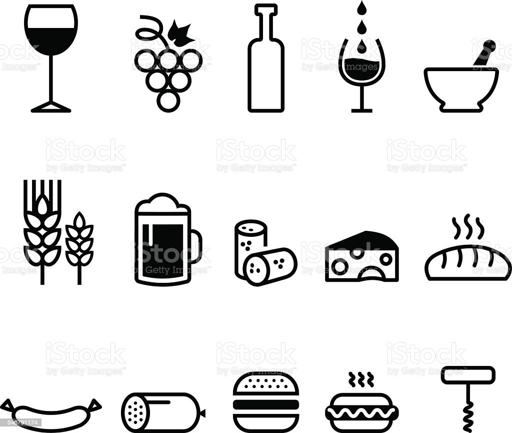 Food Icons vector art illustration