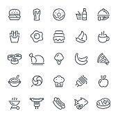 Food, restaurant, icons, pizza, strip steak, seafood, icon set
