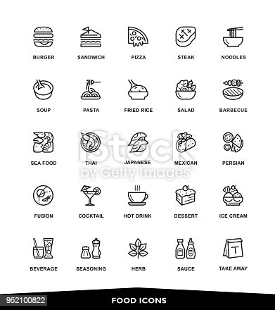 Restaurant, Food icons, vector, illustration, line, Modern Graphic