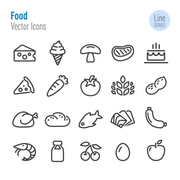 food icons-vector line series - lachskuchen stock-grafiken, -clipart, -cartoons und -symbole