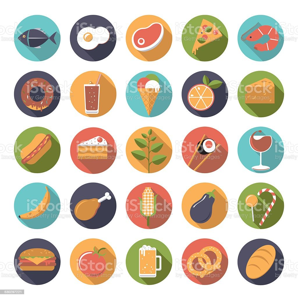 Food icons vector set. vector art illustration