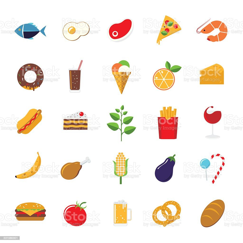Food icons vector set vector art illustration