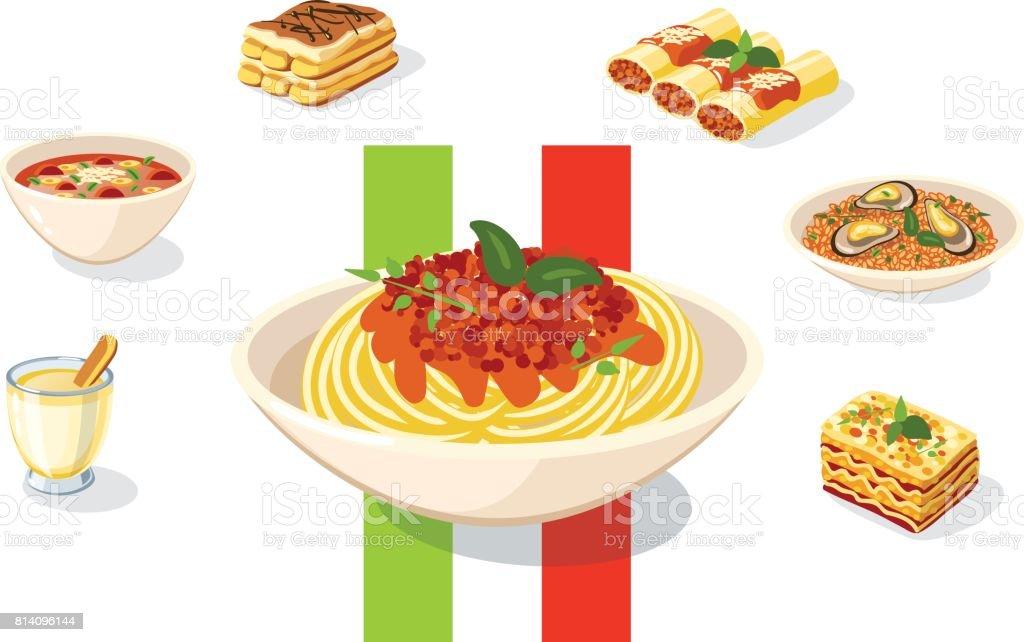 食品イラスト イタリア料理 ベクトル図 イタリアのベクターアート素材