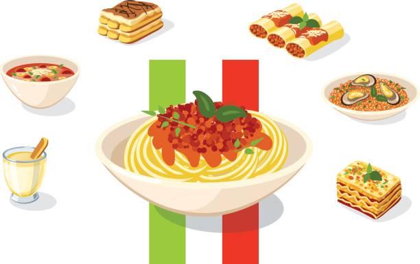 essen-illustration: italienisches essen: vektor-illustration - spaghetti stock-grafiken, -clipart, -cartoons und -symbole