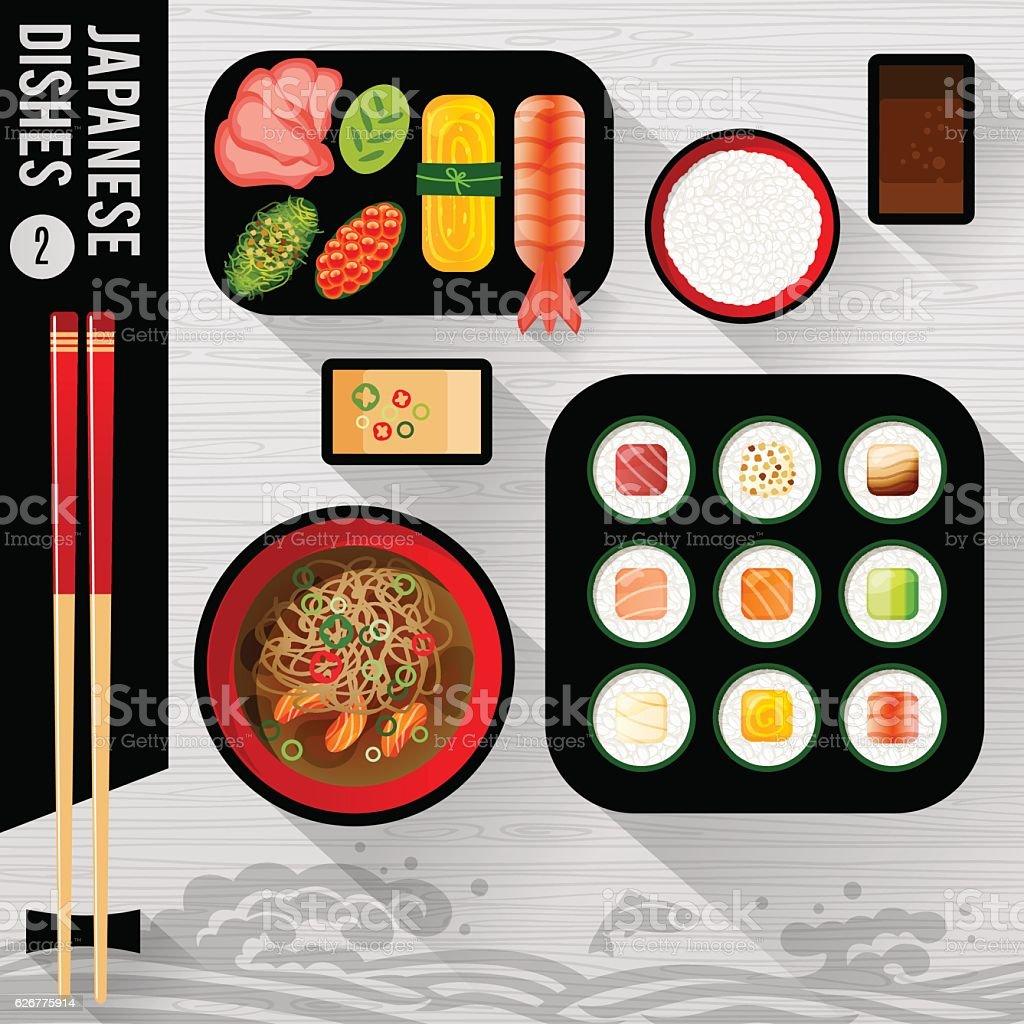 Food Illustration Japanese food - ilustración de arte vectorial