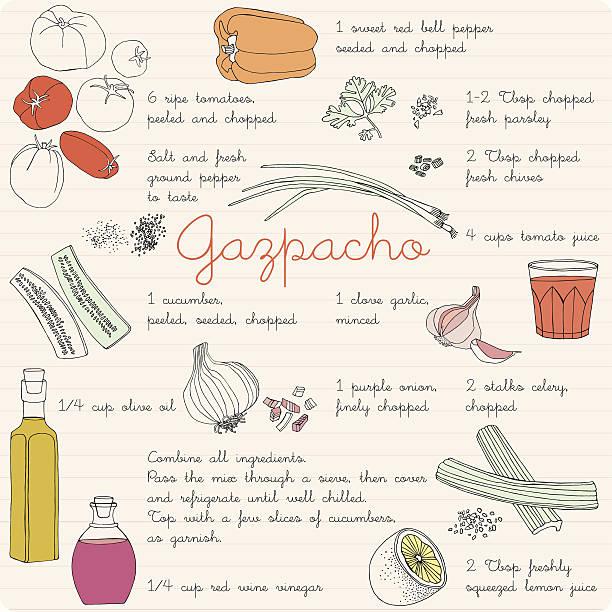 ilustrações, clipart, desenhos animados e ícones de comida coleção de ilustrações, ingredientes, gazpacho receita. - comida espanhola