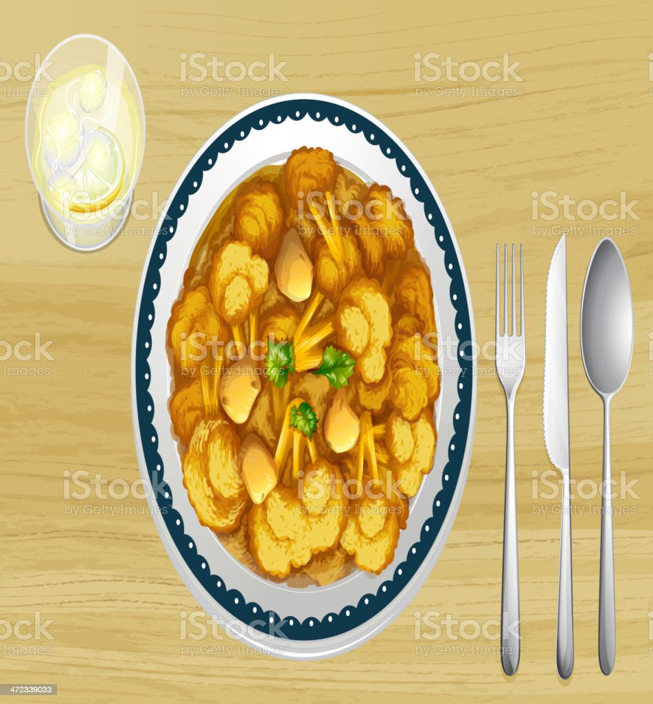 Food in a dish royalty-free stock vector art