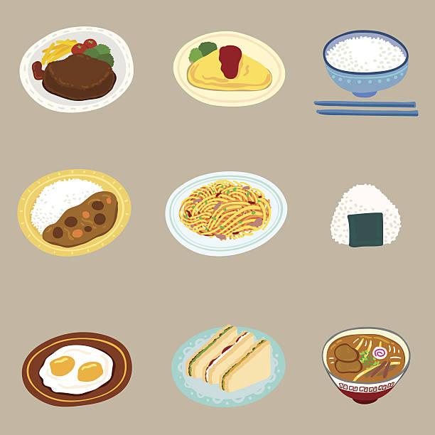 カラフルな漫画スタイルでのお食事 - カレー点のイラスト素材/クリップアート素材/マンガ素材/アイコン素材