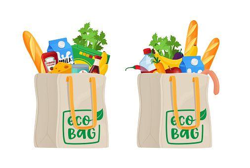 Food in Shopping Eco Bags, Grocery Isolated on White Background. Different Production Vegetables, Bread or Cans with Milk