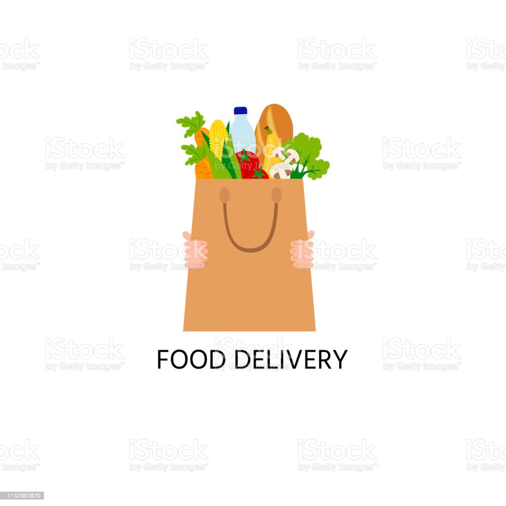 Food in the paper bag, logo. Food delivery logo. Water, long loaf, mushrooms, a tomato, salad, corn. - Grafika wektorowa royalty-free (Biznes)
