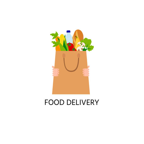 food in the paper bag, logo. food delivery logo. water, long loaf, mushrooms, a tomato, salad, corn. - food delivery stock illustrations