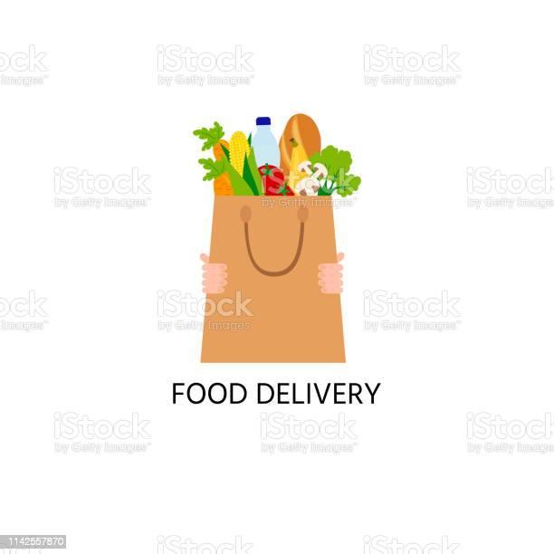 Food In The Paper Bag Logo Food Delivery Logo Water Long Loaf Mushrooms A Tomato Salad Corn - Stockowe grafiki wektorowe i więcej obrazów Biznes