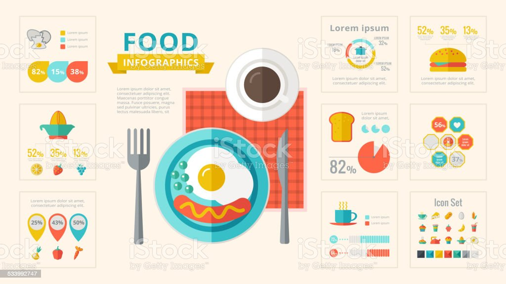 食品インフォグラフィック要素です。 ベクターアートイラスト