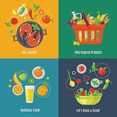 Set of four food infographics.