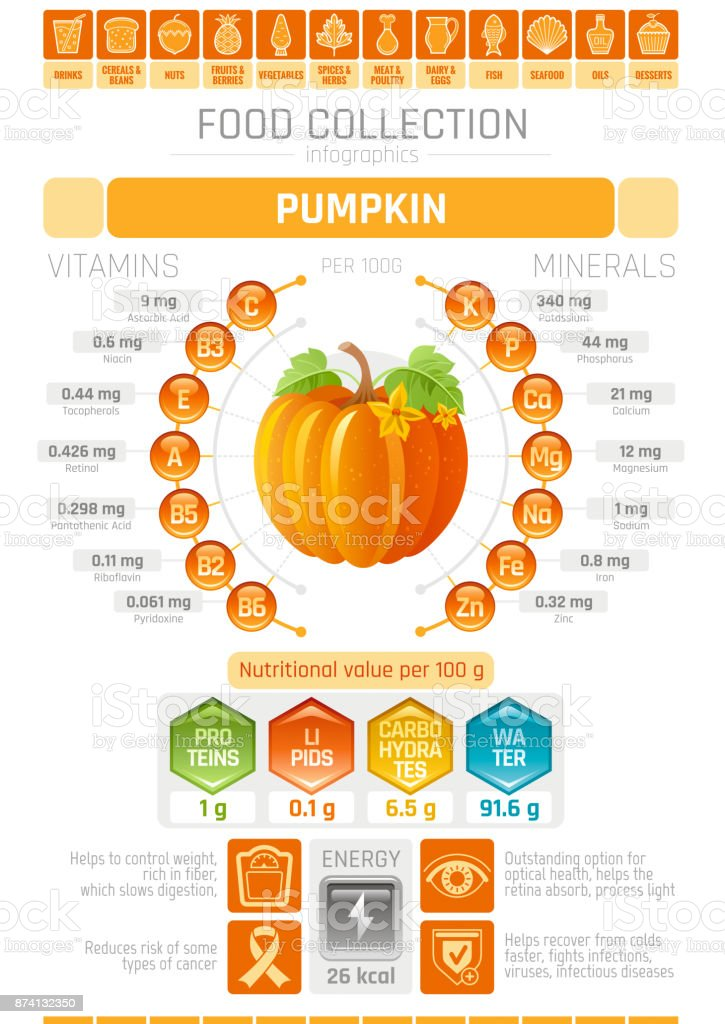 Food infographics poster, pumpkin vegetable vector illustration. Healthy eating icon set, diet design elements, vitamin mineral supplement chart, protein, lipid, carbohydrates, diagram flat flyer. vector art illustration