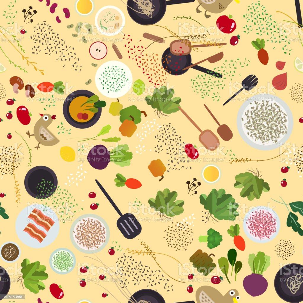 Food ingredient seamless design Lizenzfreies food ingredient seamless design stock vektor art und mehr bilder von abstrakt