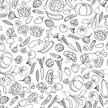 Food ingredient seamless doodle line pattern Vegetable background