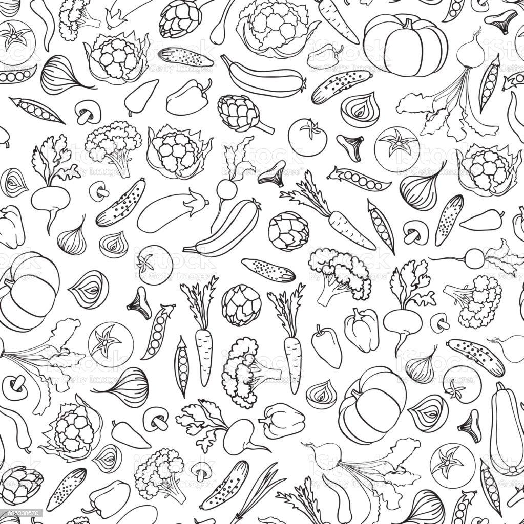 Food ingredient seamless doodle line pattern Vegetable background vector art illustration
