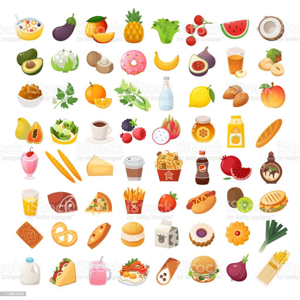 食品配料和菜肴圖示 - 免版稅互聯網圖庫向量圖形