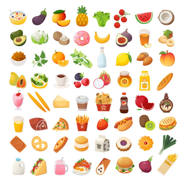 Food ingredients and dishes icons Set of colorful food icons. Bakery, dairy food, fruit and vegetables. Desserts fast food and pasta images. Isolated vector cartoon icons on white background. cooking symbols stock illustrations