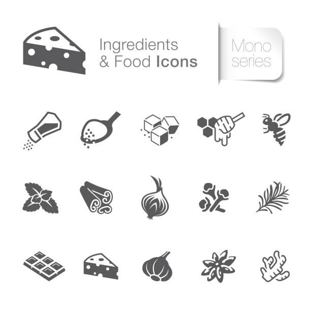 illustrazioni stock, clip art, cartoni animati e icone di tendenza di food & ingredients related icons - aglio cipolla isolated