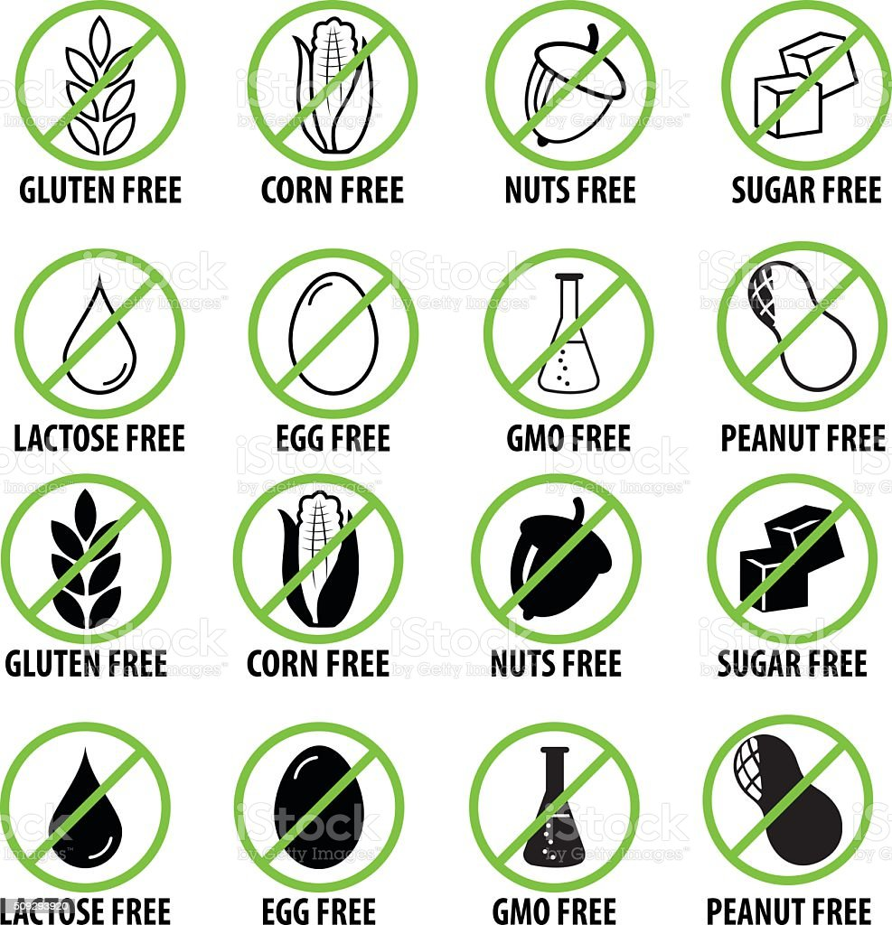 Food intolerance icon set vector art illustration
