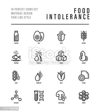 Food intolerance thin line icons set. Symbols of lactose, egg, gluten, corn, seafood, palm oil, peanut, trans fat, citrus, GMO, honey, mushroom. Vector illustration for packaging.