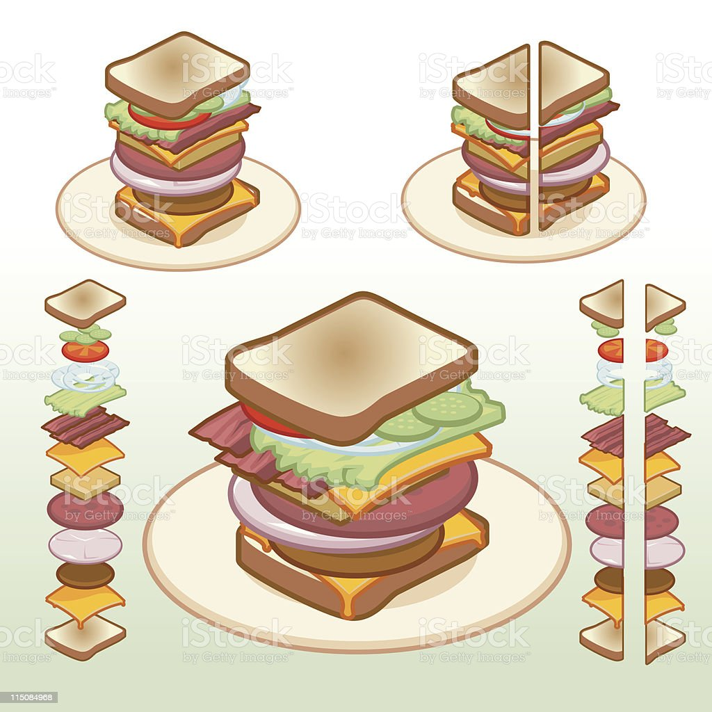 Food - Isometric Sandwich Icons 02 royalty-free stock vector art