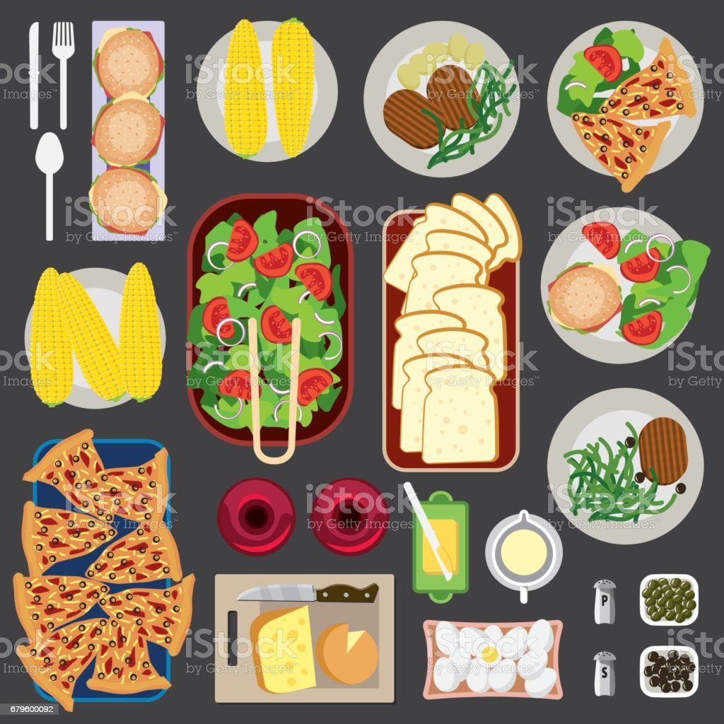 Food Knolling Top View vector art illustration