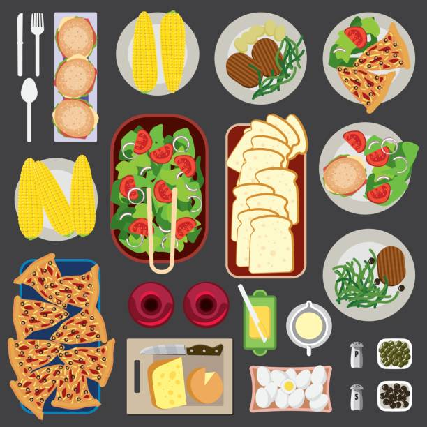 Food Knolling Top View Vector Illustratiion of arranged Food Knolling Top View pickle slice stock illustrations