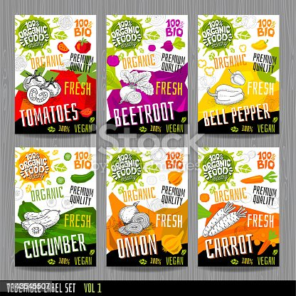 Food label set stickers collection vegetable labels spices package design. Tomatoes, beetroot, bell pepper, cucumber onion, carrot. Organic, fresh, bio, eco. Hand drawn vector illustration
