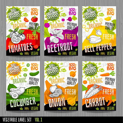 Food label set stickers collection vegetable labels spices package design. Tomatoes, beetroot, bell pepper, cucumber, onion