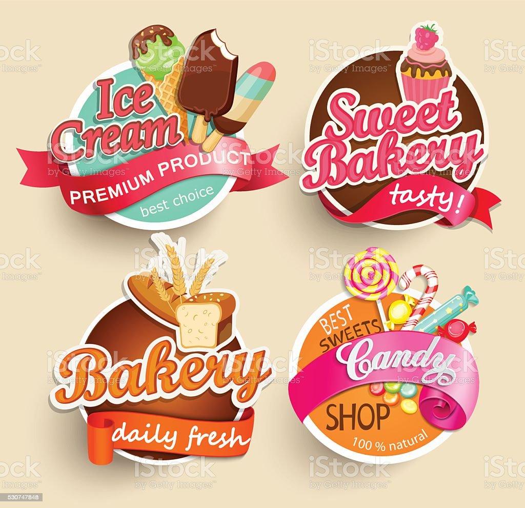 Étiquettes et autocollants de la nourriture. - Illustration vectorielle